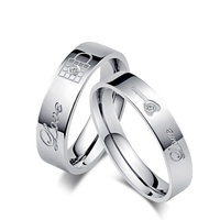 Korean styles key rings promise rings for couples with crystal