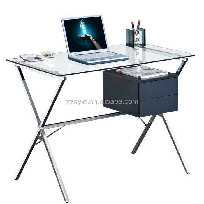 Cheap office metal furniture glass office computer desks for study