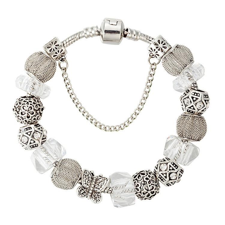 Msyo Brand Metal Flexible Chain Bangle Totem Vintage Silver Stone Claw Bracelet Sterling Bean Antique