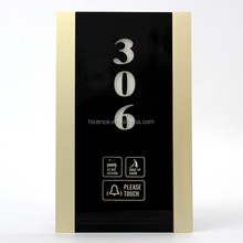 433 wireless Gold Aluminum brushed frame hotel touch doorplate system with different colors LED, vertical numbers