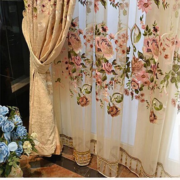Elegant Nine Needle Embroidery Thick Chenille Curtain For Windows