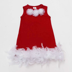Wedding Party Kids Cotton Frock Designs Children Clothes Princess Feather Girls Dress