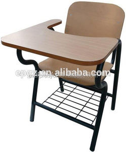 School training chairs with writing board, study chairs with tables attached