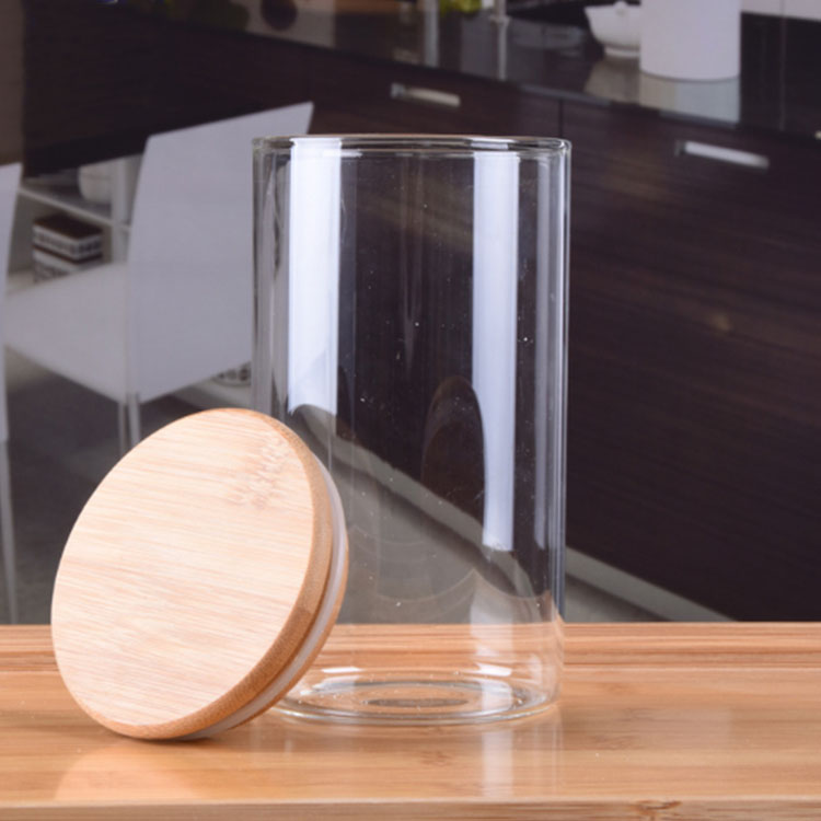 8 oz 10 oz 12 oz wood top lid food candle candy storage glass jars with bamboo wooden lids