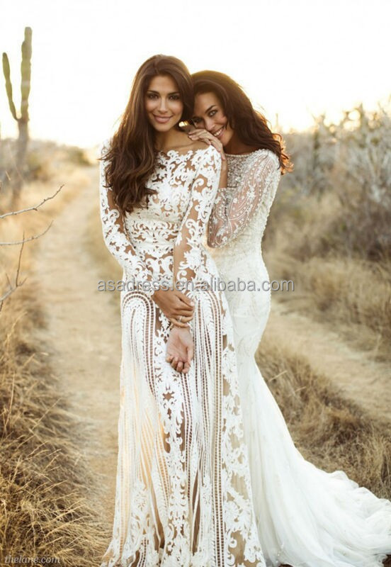 BHM1 New Trend Hollow Back Bridal Lace Wedding Gown Long Sleeve See Through Bohenmian Dress