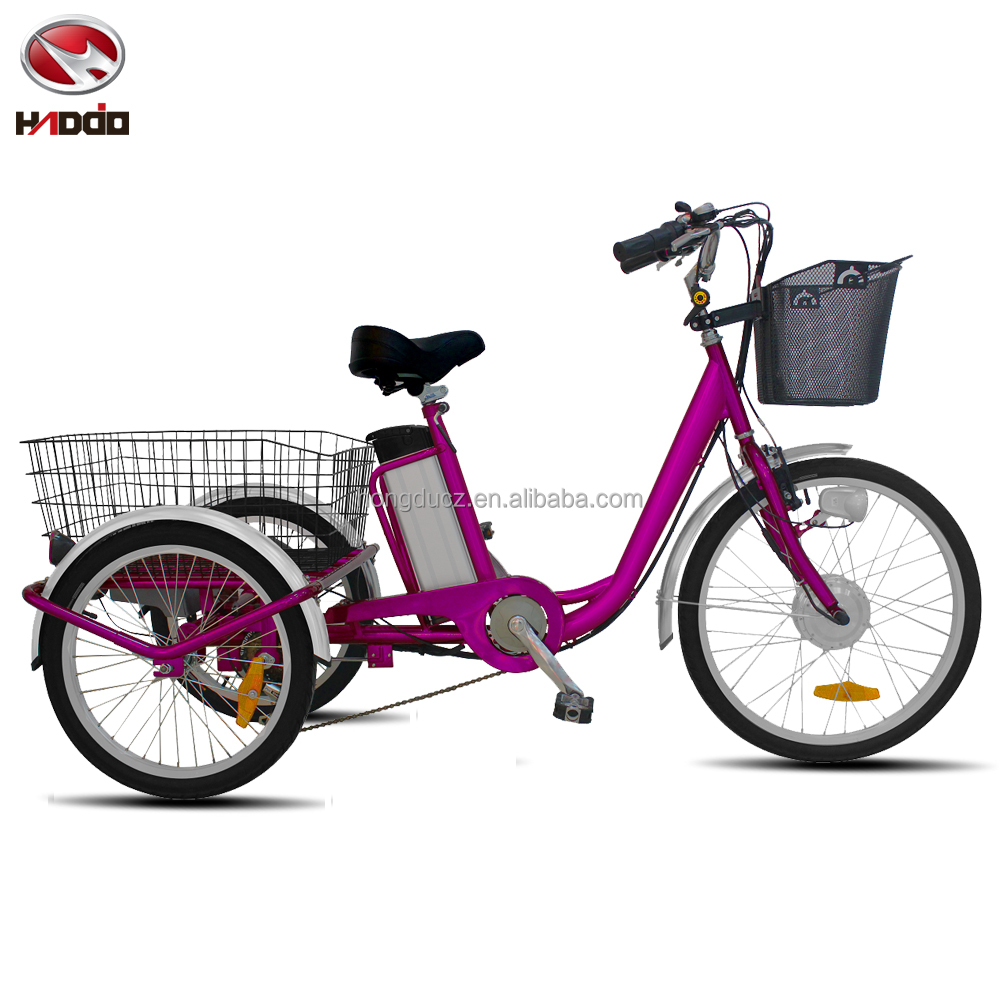 24 inch cargo 3 wheel bike electric city tricycle for adult with shimano 6 speed
