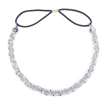 CS00554 JN wholesale Fashion popular alloy twist hair elastic band silver hair hoop accessories women jewelry
