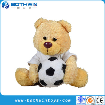 e70ebca0 Personalized Football Soccer Soft Sitting Teddy Bear Plush Toy With Ball