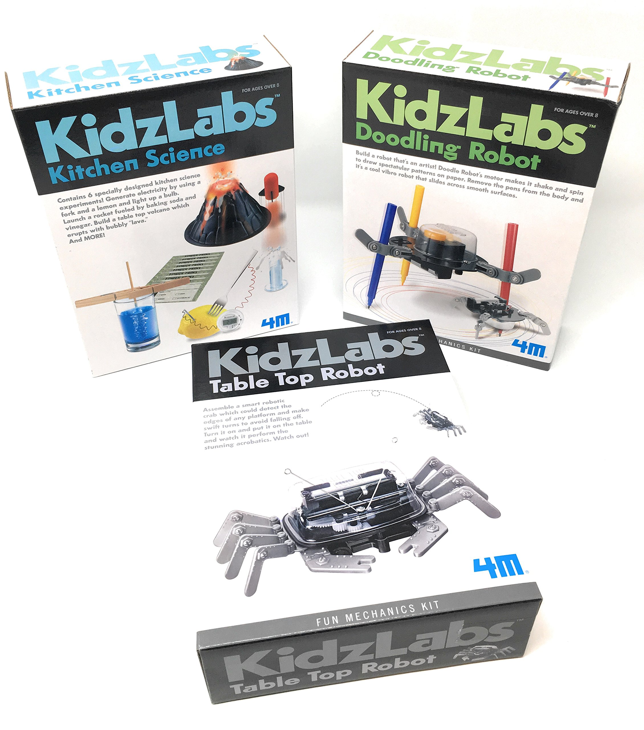 KidzLabs Robot Toys Science Experiments for Kids, Kitchen Science, Table Top Robot, Doodling Robot - Science Kits for Kids - Robot - Robotics for Kids - Batteries/Screwdriver INCLUDED by 4M & MTGS