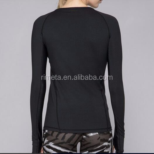 Fashion  Women Yoga Tank Top Fitness Long Sleeve Shirt with mesh Gym's wear