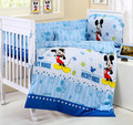 Promotion 10PCS Mickey Mouse Cot Crib Beddings Wholesale and Retail Children Cot Sets bumpers matress pillow