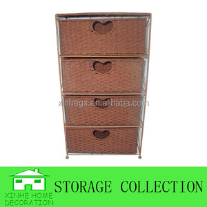 4-drawer seagrass woven storage cabinet