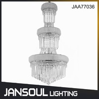 Zhongshan High Quality Big 3 Tiers Bohemia Decorative Grand Led Crystal Chandeliers for Hotels/Home