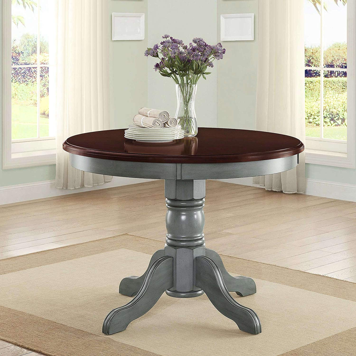 Wood Dining Table, Round Shape, Durable Construction, Contemporary Style, Seats up to Four People, Functional, Perfect for Restaurants, Bistro, Kitchen, Home Furniture + Expert Guide