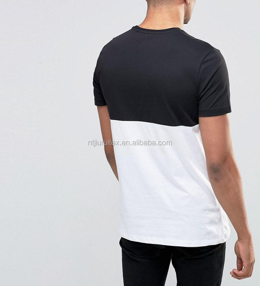T shirt white colour - Black White Two Tone Colour Block T Shirt