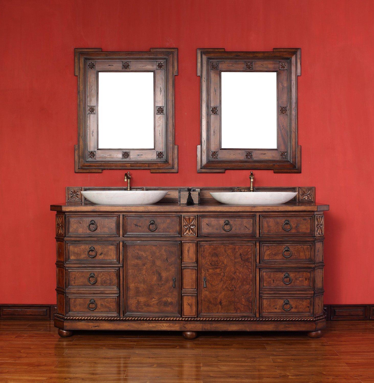 "James Martin 200-V72-ENB-DSC Regent 72"" English Burl Double Vanity with Santa Cecilia Stone Top"