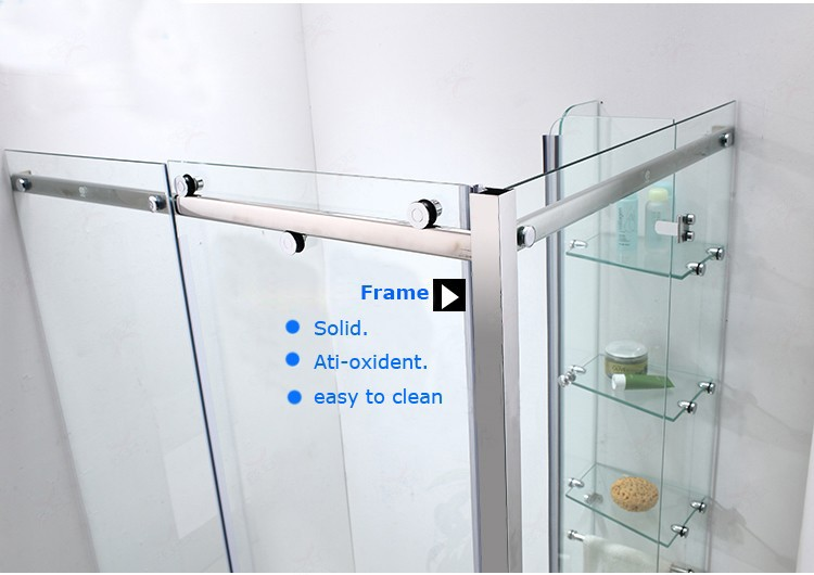 New shower cubicle gold frame sliding open style shower door with stone tray