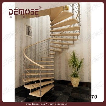 Indoor Wooden Used Spiral Staircase For Small Space