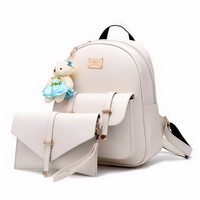 Cute Women Leather Backpack Fur Bear Decorated Small Backpacks For Girls 2 Pieces Bag Set Shoulder Clutch Bags