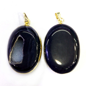 Custom Jewelry Natural Black Oval Shape Druzy Agate Pendant Wholesale