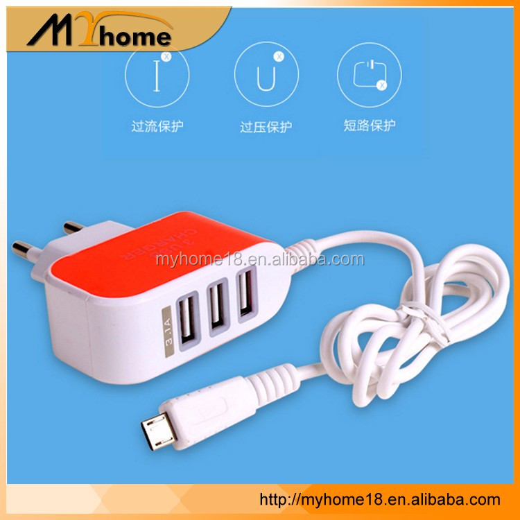 3 USB wall charger with cable EU/US /UK/AU plug 2.1A output for iphone for android mobile phone
