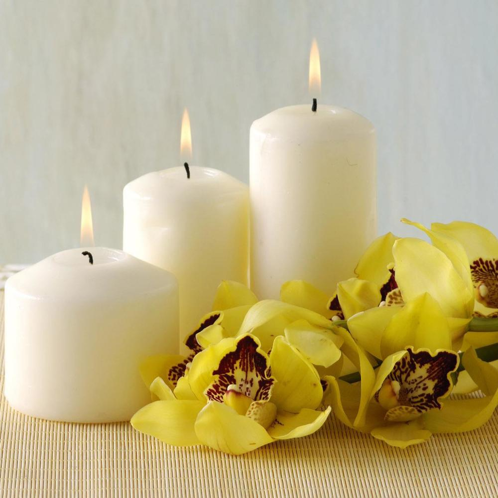 Customized Size White Color Pointed Top Scented Decorative Pillar Candles