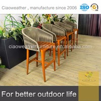 imitation wood finish Khaki poly cord garden chair