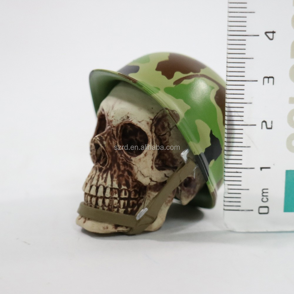 metal camouflage cap action figure/pvc skull head action figure/plastic custom skull head with camouflage cap