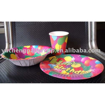 paper plates cups napkins tableware sets for birthday bridal
