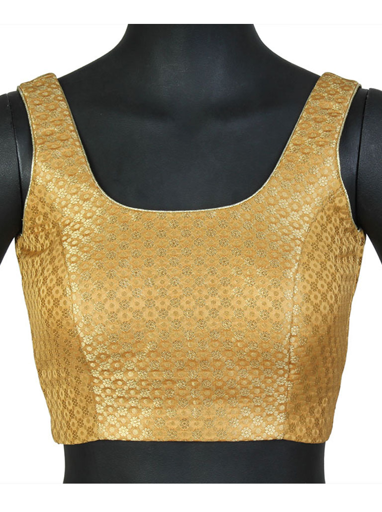 ea1c04643 A Simple Gold Brocade Blouse - Buy Fancy Gold Blouses Product on ...