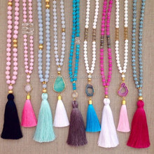 2017 Fashion Mala Bead Knotted Druzy Necklace With Tassel