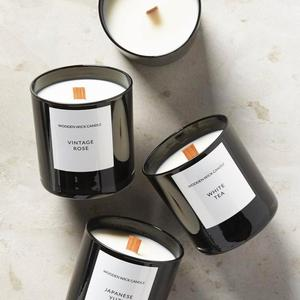 Classic Scented Candle With Black Glass Jar