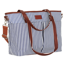 Wonderful Design Print Striped Canvas Travel Multi-function Baby Diaper Bag