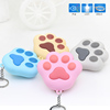Silicone button cat paw keychain with sound effect led light