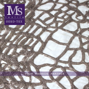 Wholesale African Net bronze cheap sequin fabric for dresses