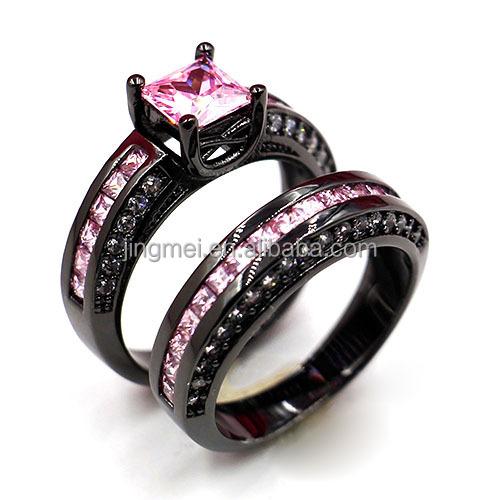 r7783 fashion black gold pink cubic zirconia gay men bridal ring set - Pink And Black Wedding Ring Set