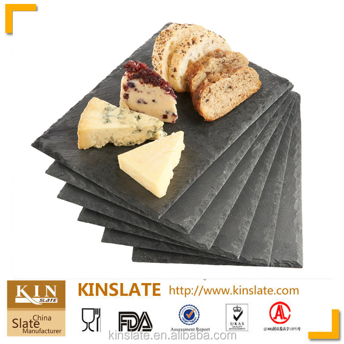 Popular Black Serving Dishes Natural Stone Slate Cheese Board For Tableware