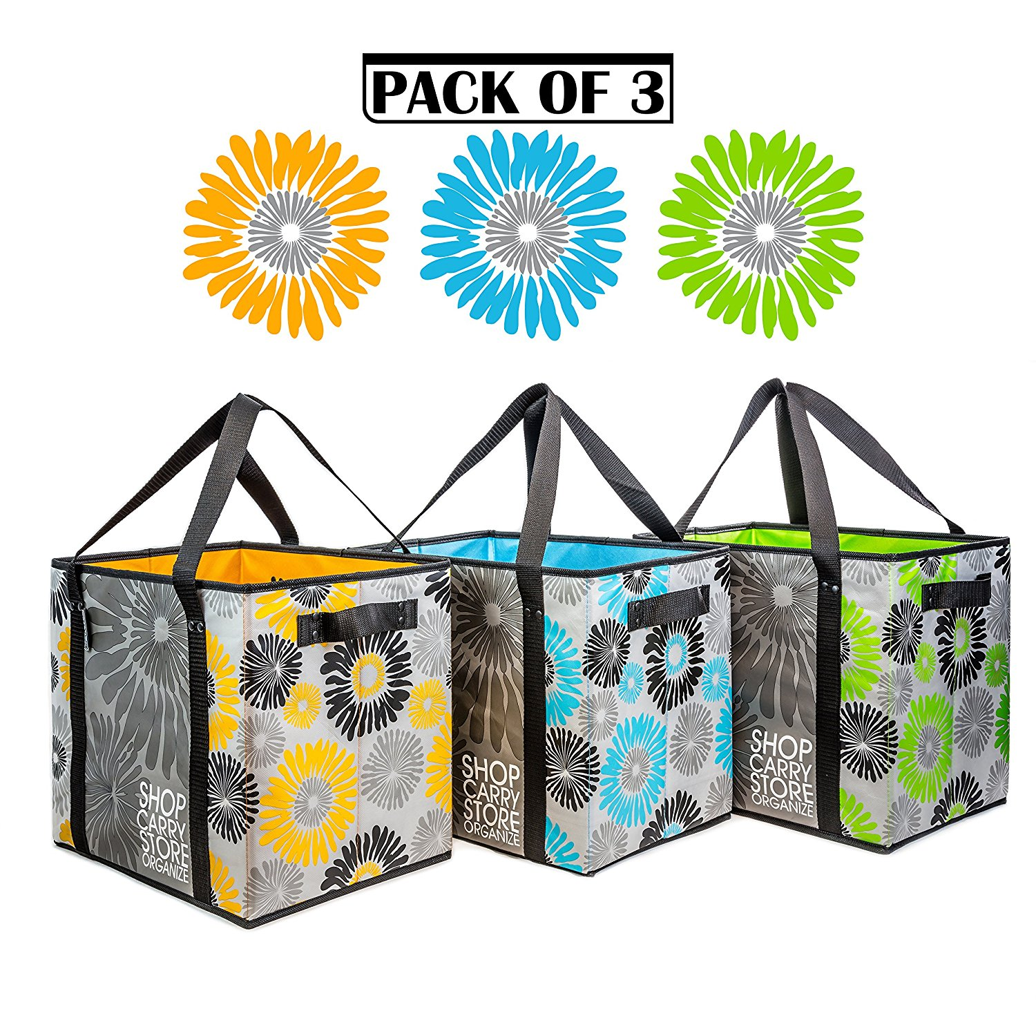 Reusable Grocery Shopping Bags (3 Pack / 3 Colors) Multipurpose for Shopping Groceries Storage Carry - 4 Handles - Collapsible Foldable Heavy Duty Large Capacity Reinforced Laminated Eco-Friendly