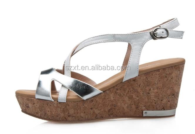 Fancy Wood Wedge Heel Shoes Women Wedge Heel Sandal Shoes