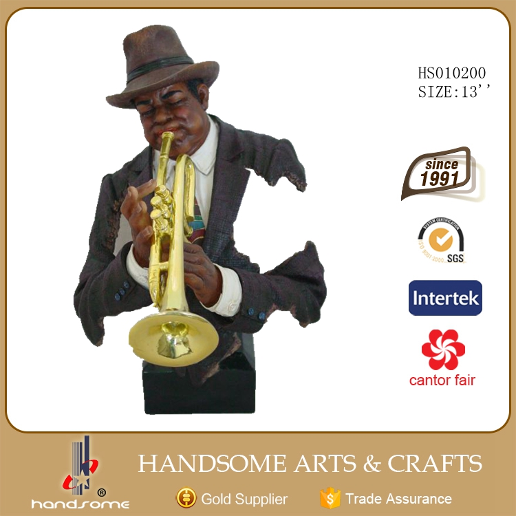 Jazz Musician Statue Resin Man Sculpture Handicraft Items