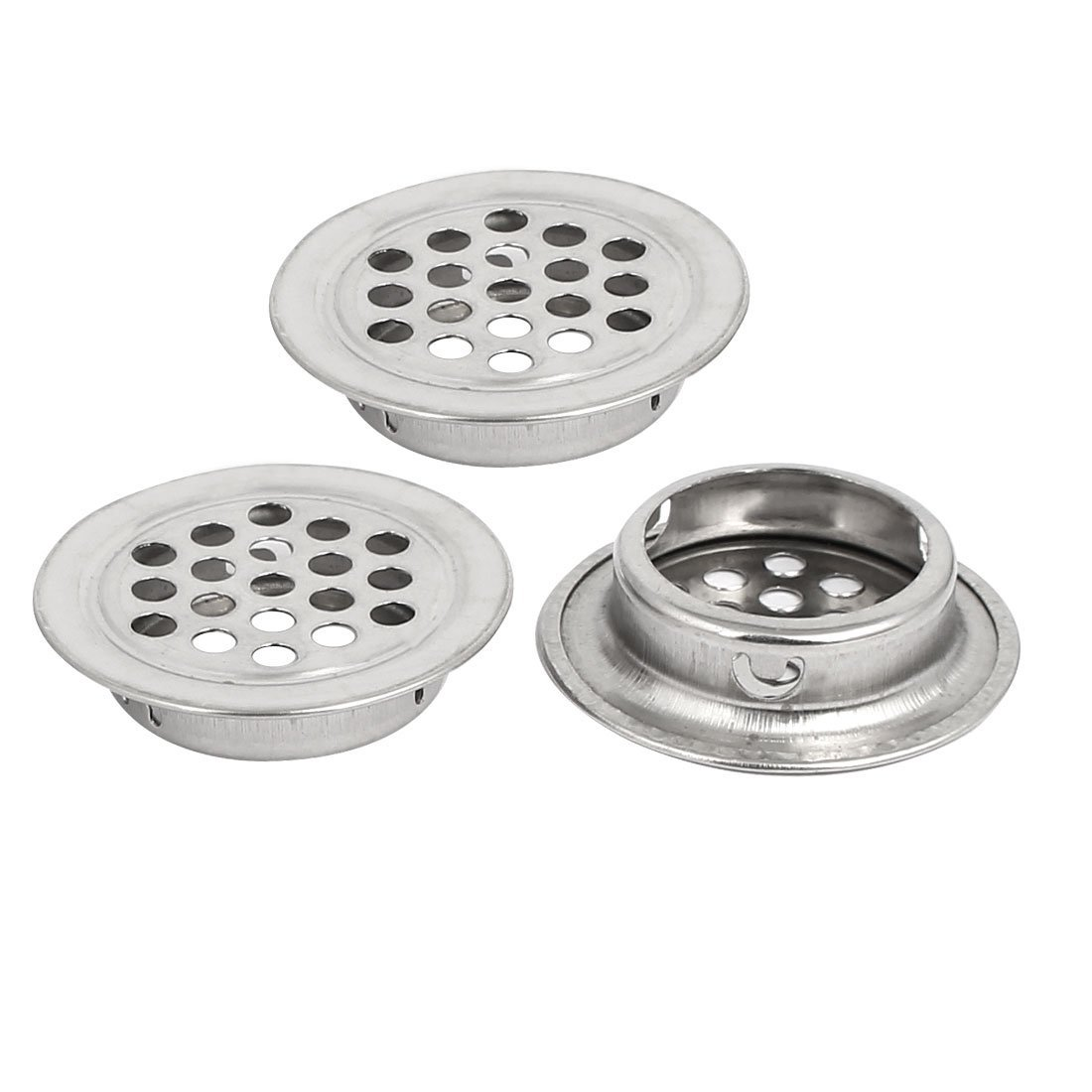 uxcell Household 25mm Bottom Dia Metal Round Mesh Hole Air Vent Louver Silver Tone 3pcs