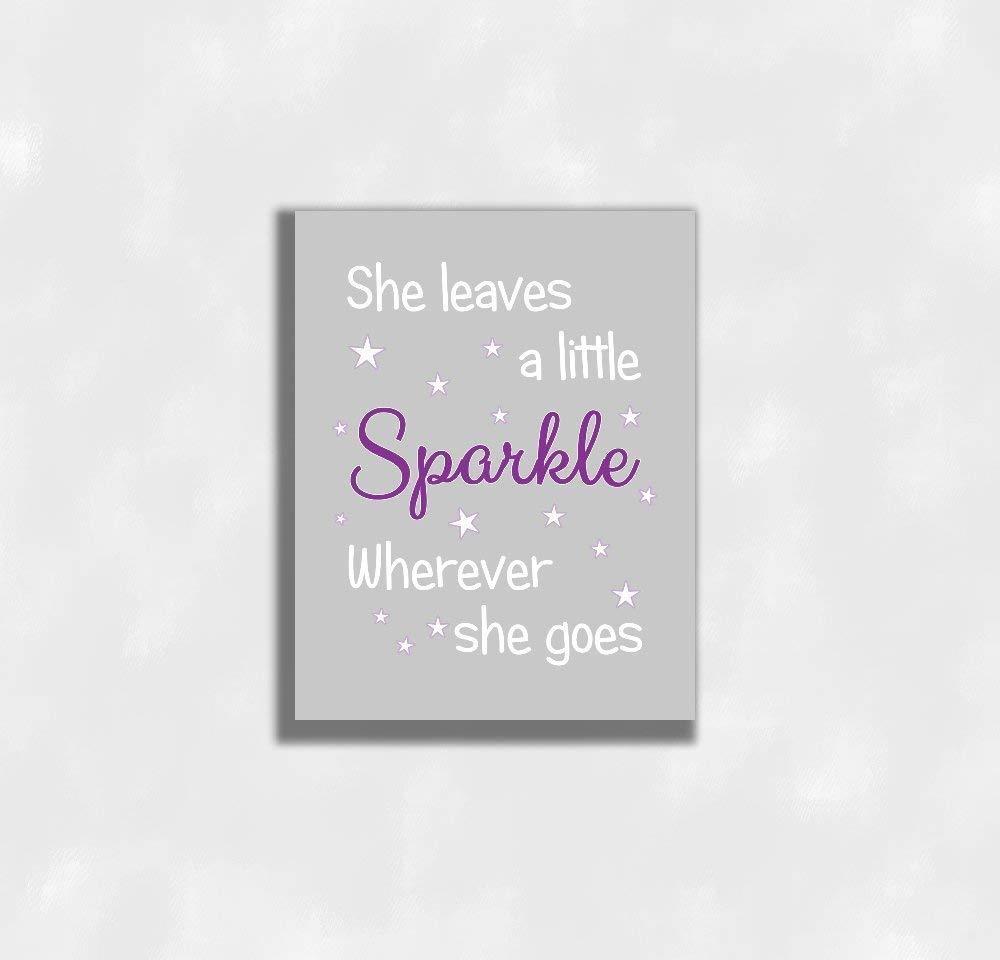 6fd30e48160d Get Quotations · Purple Canvas Baby Girl Nursery Wall Art She Leaves a  Little Sparkle Prints Bedroom Baby Nursery