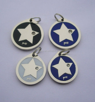 star round soft enamel dog tag star embossed metal rhinestone pet