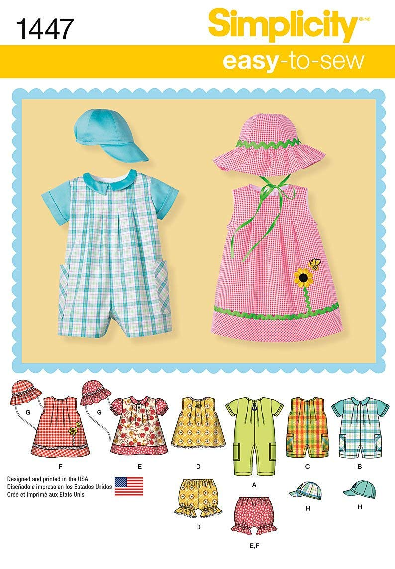 Simplicity Creative Patterns 1447 Babies' Romper, Dress, Top, Panties and Hats, A (XX-Small-X-Small-Small-Medium-Large)