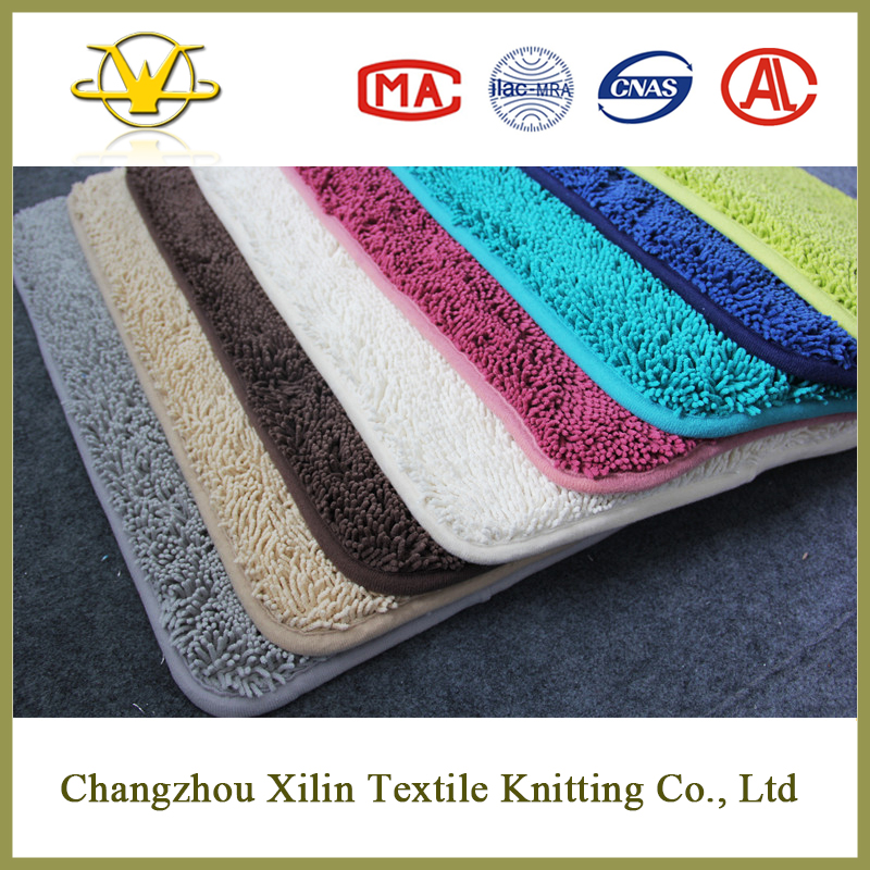 Soft water absorption modern design shaggy chenille carpet fabric rubber backed bath mat