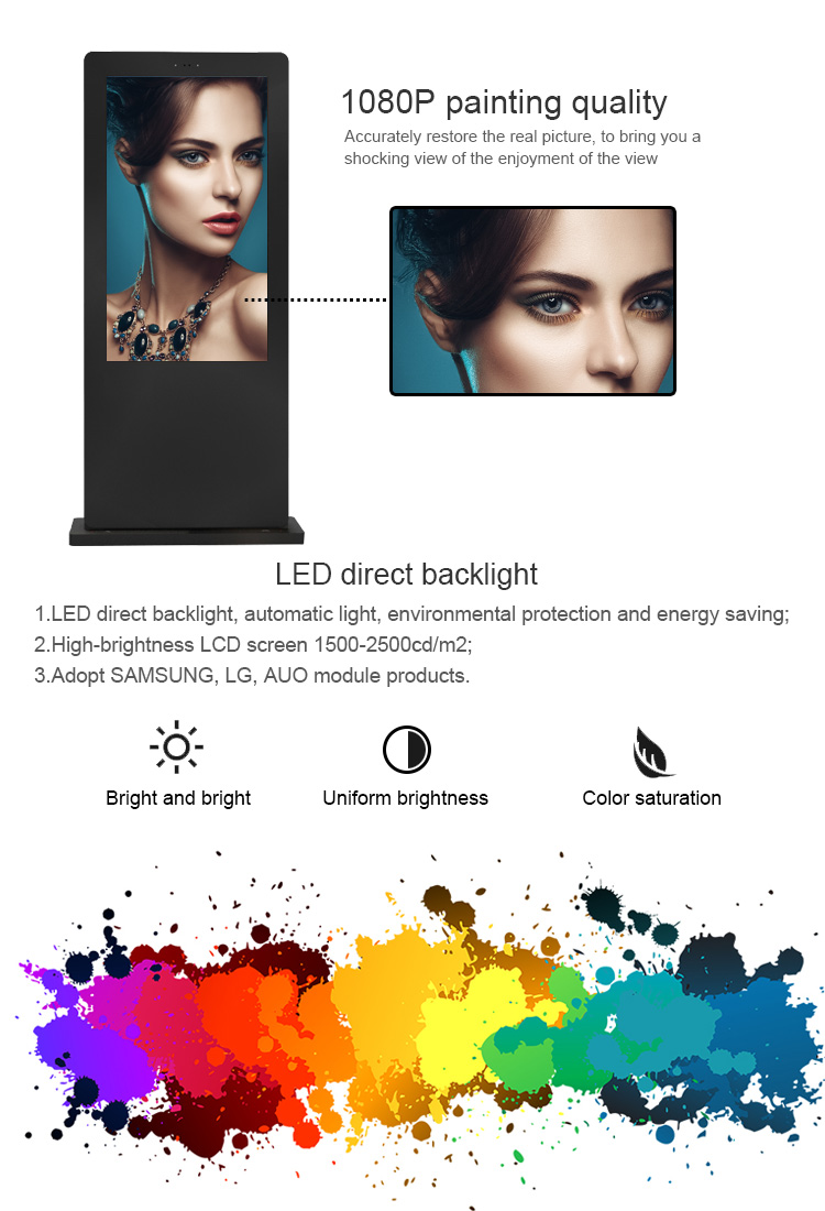 Shenzhen factory 55 inch outdoor digital signage waterproof hd touch screen display