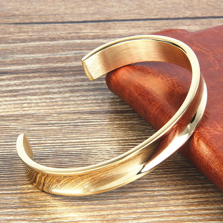 New Simple Design Gold Stainless Steel Custom Open Cuff Bangle Bracelet Men