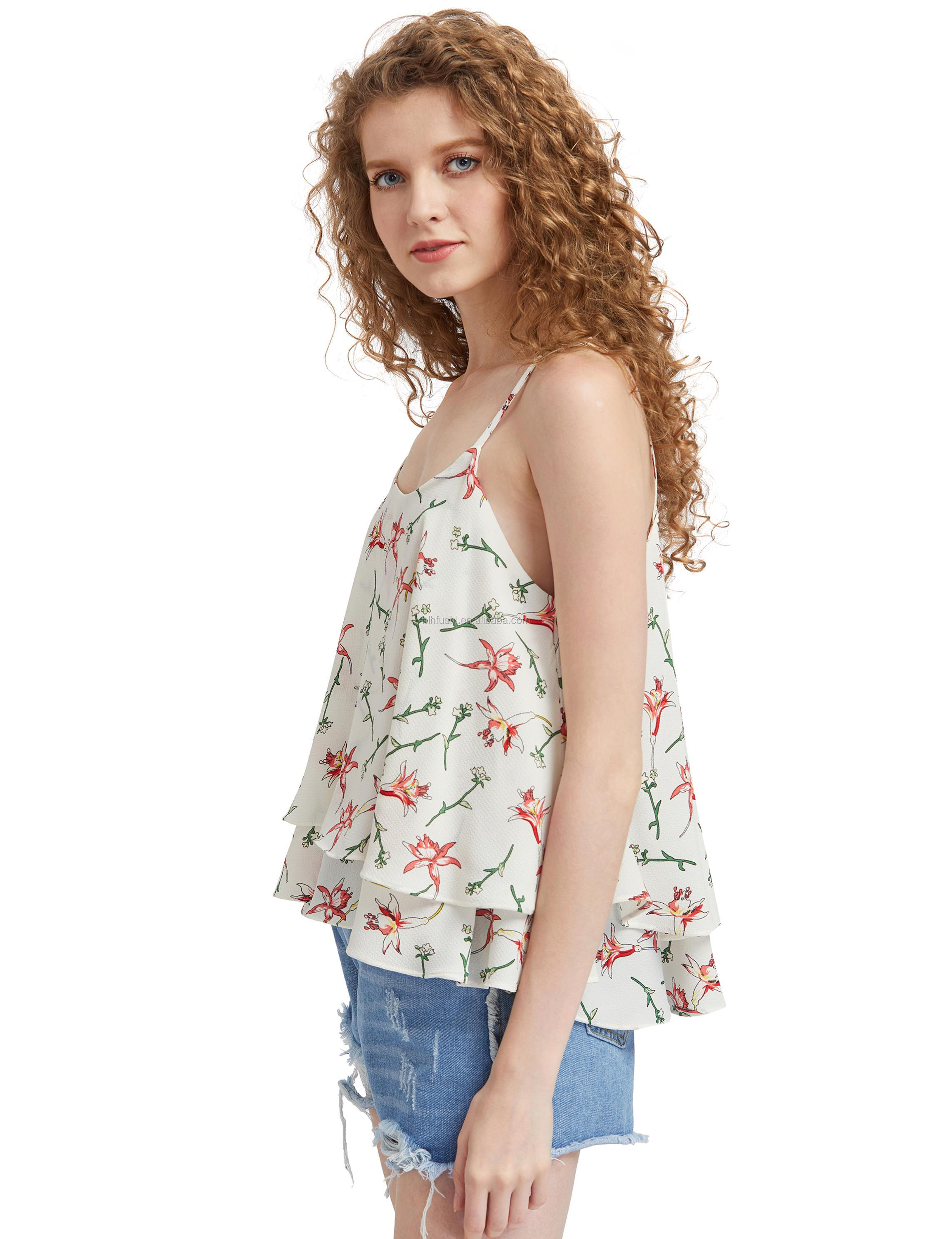 19d4973ecce657 Floral Strap Cross Sexy Sleeveless Blouse Strapless Double Layer Chiffon  Fresh Backing Vest