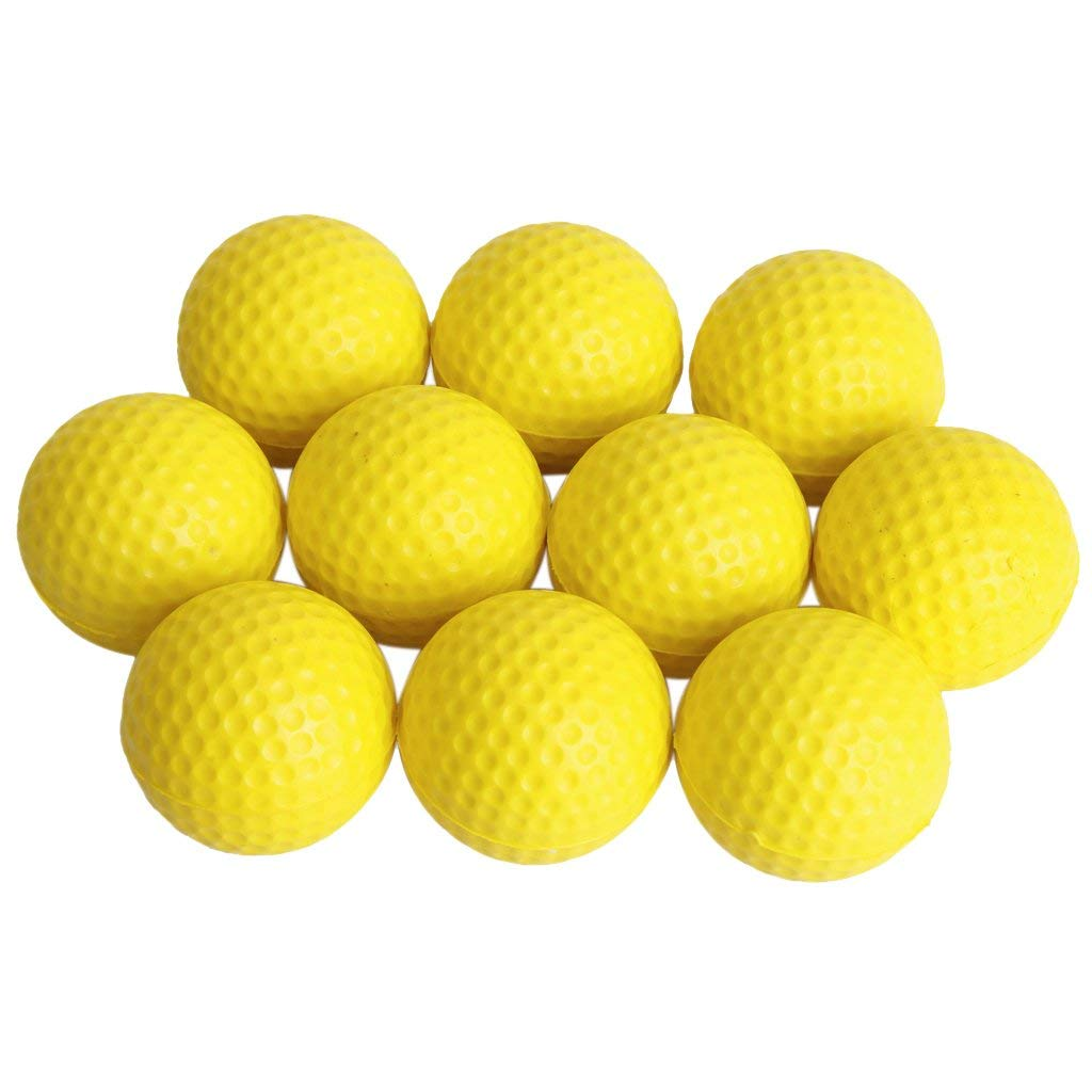 Dovewill 10 Pieces PU Golf Ball Golf Training Soft Foam Balls Practice Ball - Yellow