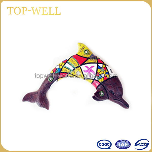 Popular polyresin wall hanging yellow dolphin hanging